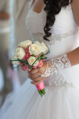 Beautiful bouquet in hand of bride