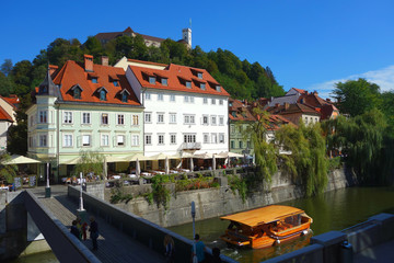 Ljubljana, Europe, old part of town with Ljubljana castle