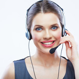 Close up face portrait o woman customer service worker isolated