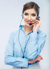 Woman call center operator. Business woman female young
