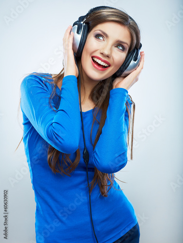 Music woman isolated portrait. Female model studio isolated.