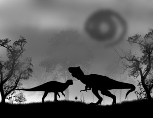 Dinosaurs Silhouettes  in the forest