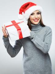 Christmas Santa hat isolated female portrait. Woman Santa. Chri