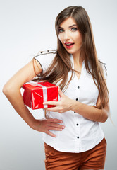 Young woman portrait hold christmas gift.
