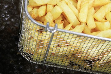 french fries in frying basket