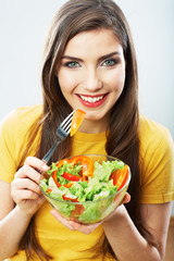 Diet woman isolated portrait. Close up female face.