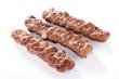 Indian Shish kofta kofte kebabs isolated on white