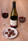 two glasses of red wine chocolate