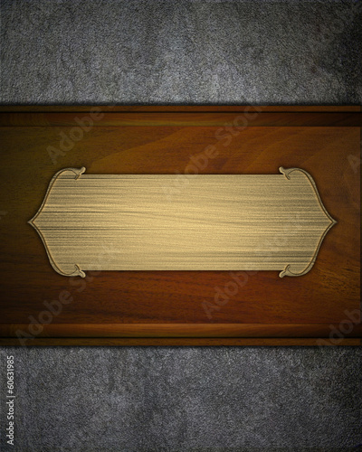gold nameplate on a wooden background. design template - 60631985