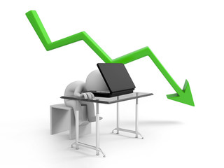 sad businessman sitting with falling graph