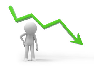 sad businessman standing with falling graph