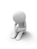 Sad man sitting isolated on white background