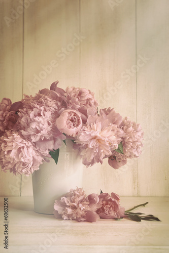 canvas print picture Peony flowers in vase with vintage colors