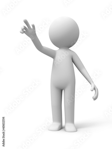 3d people standing and point sth