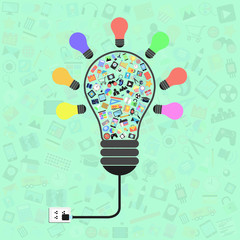 light bulb with applications graphical user interface flat icons