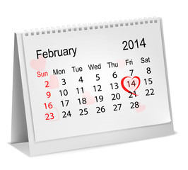 Calendar with hand written red heart. February 14 of Saint Valen