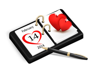 Valentine's Day in calendar. vector