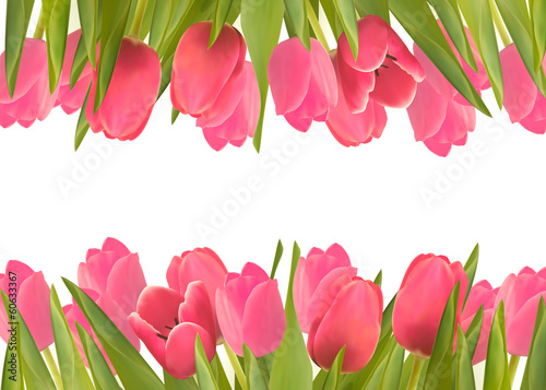 Holiday background with pink beautiful flowers. Vector illustrat