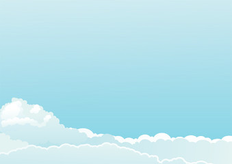 Vector background of color sky with clouds at engraved style