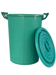 plastic recycle rough skin green recycle bin isolated