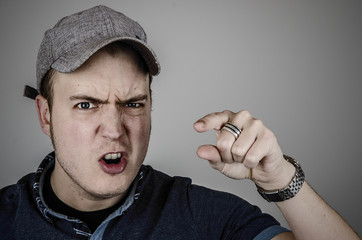 aggression, man pointing and shouting