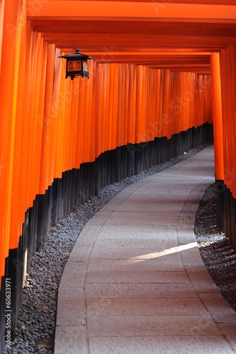 Red Tori Gate at Fushimi Inari Shrine in Kyoto, Japan