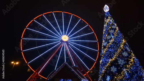 Ferris Wheel Amusement Park Time Lapse, Christmas, Kharkov, Ukra
