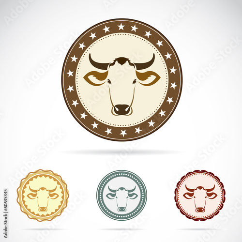Set of vector cow label