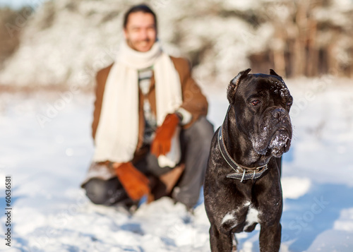 man and dog play in the woods