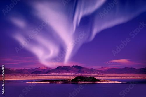Foto op Canvas Violet northern lights aurora borealis
