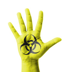 Open hand raised, Biohazard sign painted