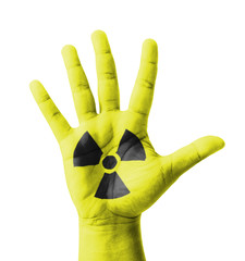Open hand raised, Radioactivity sign painted
