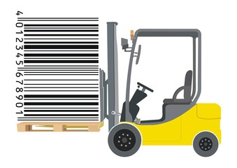Forklift and barcode illustration