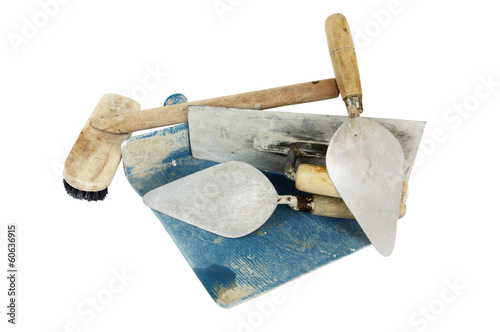 set of construction lute trowels tool isolated on white