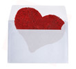 light envelope with red heart isolated on white