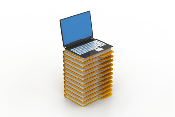 file folders next to a modern laptop