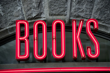 Neon books sign