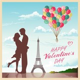 Valentine's day card with romantic couple in Paris background