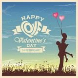 Fototapety Valentine's day card with romantic couple vector background