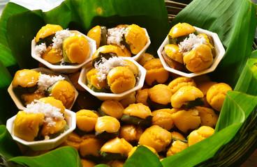 Dessert Thai sweet sugar palm cake with coconut