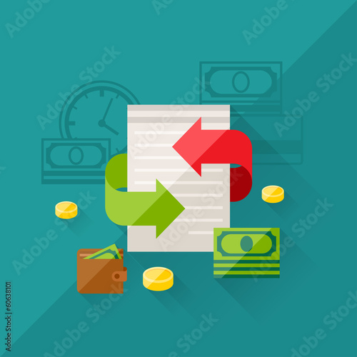 Illustration concept of refinance in flat design style.