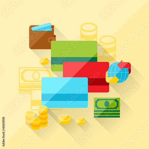 Illustration concept of bank cards in flat design style.