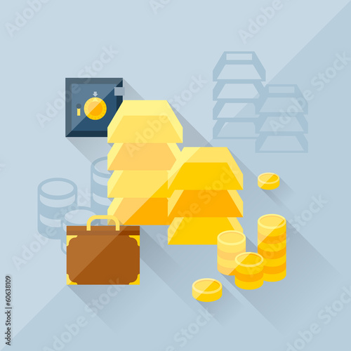 Illustration concept of precious metals in flat design style.