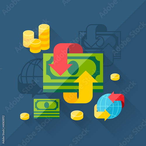 Illustration concept of exchange in flat design style.
