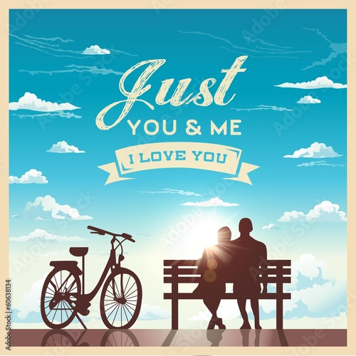 Valentine's day card with romantic couple and bike background