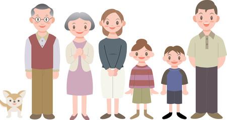 三世代家族6人ペット