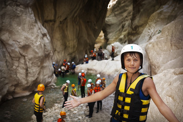 Group of young sportsmen in Goynuk canyon, Kemer, Turkey