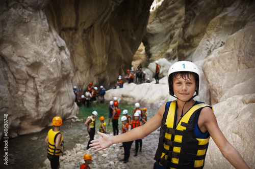 Fotobehang Extreme Sporten Group of young sportsmen in Goynuk canyon, Kemer, Turkey