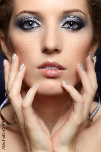 Shining woman face makeup