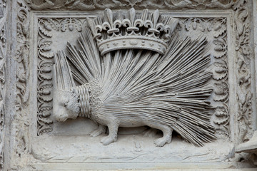 Porcupine emblemof the House of Orleans. Castle of Blois
